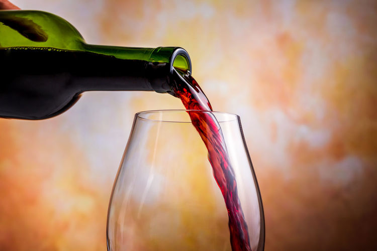 Bottle Drink Refreshment Wine Wine Bottle Pouring Food And Drink Focus On Foreground Glass - Material Alcohol Container Glass Close-up Drinking Glass Red Wine Wineglass Human Body Part Transparent