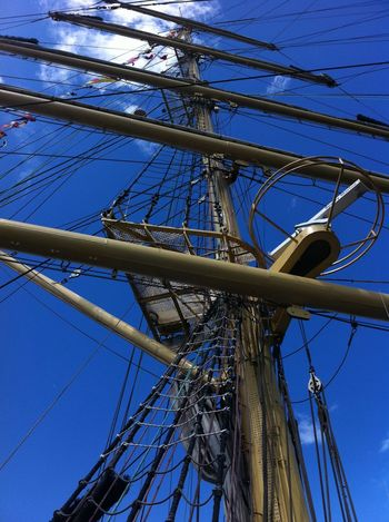 Blue Day Low Angle View Mast Nautical Equipment Nautical Vessel No People Outdoors Rigging Sailing Sailing Ship Ship Sky Tall Ship