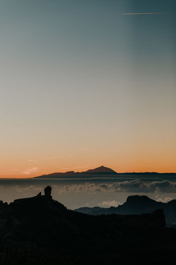 sunset Sky Sunset Beauty In Nature Scenics - Nature Tranquil Scene Tranquility Silhouette Orange Color Idyllic Mountain Environment Non-urban Scene Nature Landscape No People Outdoors Cloud - Sky Remote Teide Gran Canaria Tenerife Canary Islands EyeEm Best Shots EyeEmNewHere EyeEm Nature Lover