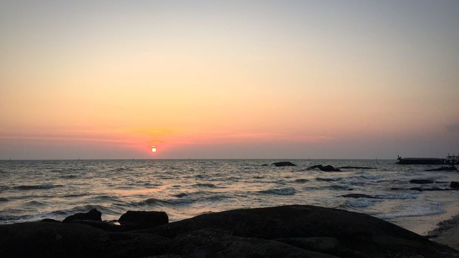 Sea Horizon Over Water Sunset Water Beauty In Nature Scenics Nature Tranquility Orange Color Idyllic Sky Sun Tranquil Scene Beach Outdoors No People