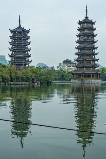 Pagodas China Guilin Water Reflection