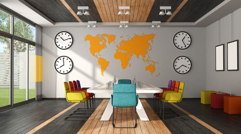 BoardRoom MEETING TABLE Modern Office Wood Workplace Clock Colorful Design Meeting Room Office Chair World Map