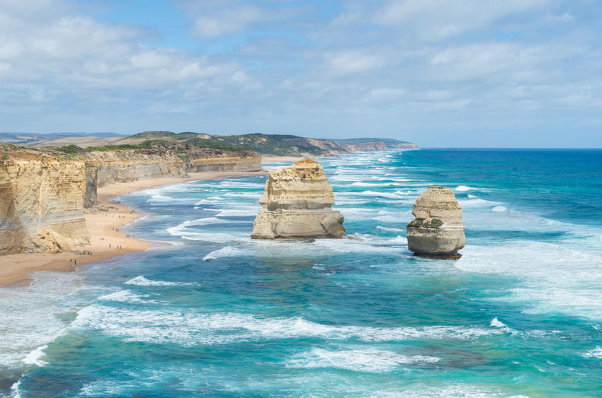 Twelve Apostles on the Great Ocean Road in Australia. Australia Australian Beaches Australian Landscape Beach Beauty In Nature Cliff Cliff View Day Great Ocean Road Nature Outdoors Rock Formation Rocky Beach Scenics Sea Travel Destination Travel Destinations Twelve Apostles Water