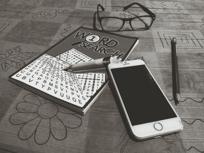 Word Search Favourite Past Time Pencil Eyeglasses  Communication Drawing - Art Product Communication No People Close-up Indoors  Day