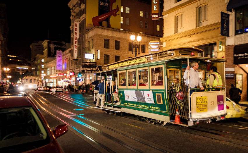 California San Francisco Tram Architecture Building Exterior Built Structure City City Life Illuminated Night Outdoors People Road Sky Street Train Transportation Mobility In Mega Cities