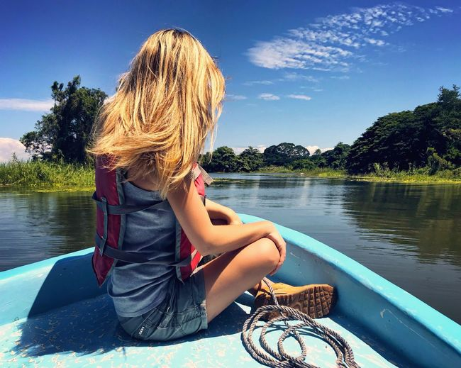 Lake Water Tree Sitting Leisure Activity Nautical Vessel Blond Hair Casual Clothing Lifestyles Boat Nicaragua Granada Nicaragua Island Sailing Adventure Adrenaline Junkie Tranquility Scenics Scenery Rear View