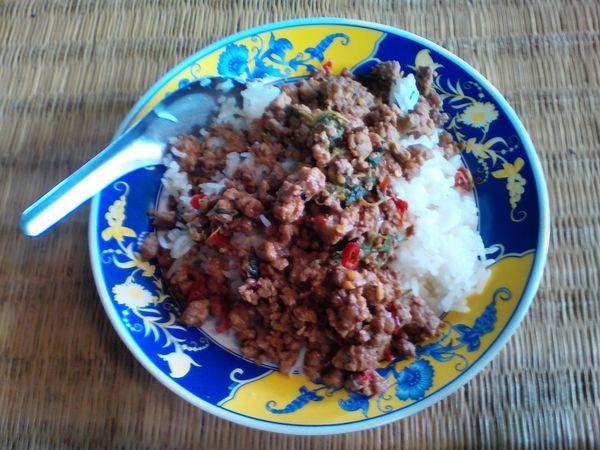 Riceworld Rice Farm Rice Wine ข้าวผัดกระเพราหมู :: Rice Topped With Stir-fried Pork And Basil Ricefield