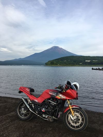 Gpz900r Motorcycle Kawasaki Japan Transportation Water Sky Mountain Mode Of Transport Day Cloud - Sky Outdoors Red Nature No People Beauty In Nature