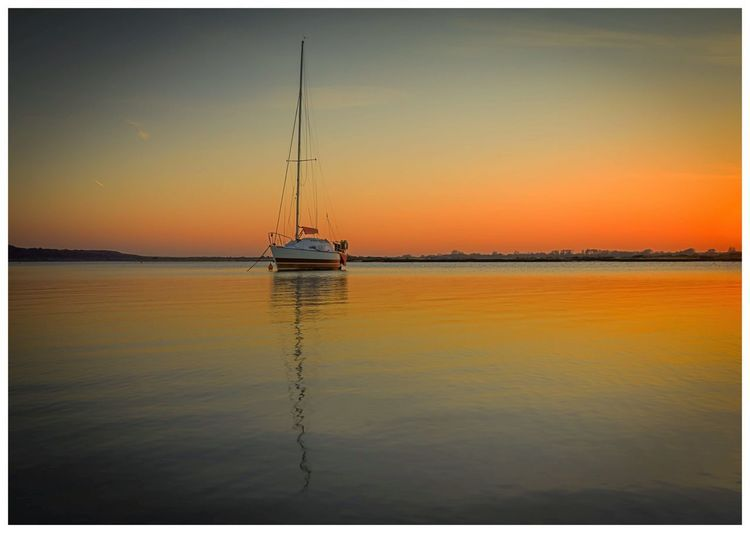 Auto Post Production Filter Sunset Water Reflection Nautical Vessel Nature Tranquil Scene
