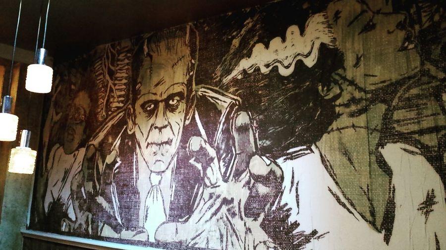 Amazing & creepy wallpaper Wallpaper Frankenstein Design Interior Design Decoration Bar Vintagedesign Vintagestyle