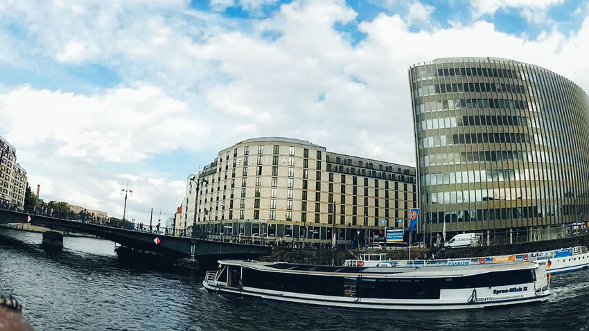 Architecture Berlin Building Exterior Built Structure City Cloud - Sky Day Fisheye Live For The Story Nautical Vessel No People Outdoors River Sky Sky And City Spree Spree River Summer Travel Travel Destinations Water Waterfront Wide Angle Discover Berlin