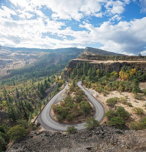 High Angle View Of Winding Road In Mountains