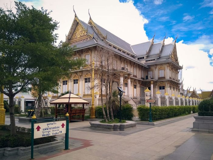 Architecture Building Exterior Cloud - Sky Tree Sky Built Structure Travel Destinations City Outdoors Day No People Politics And Government Wat Sothon Wat Sothonwararam Thailand Thailand Temple