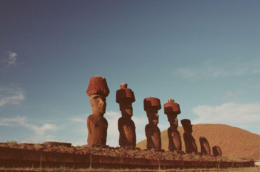 Film Photography Analogue Photography Filmisnotdead 35mm Film Moai Sky Nature Art And Craft No People Sculpture Cloud - Sky Land Human Representation History Statue