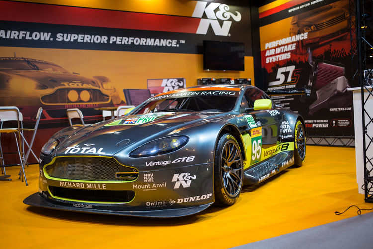 Aston Martin on the K & N filter stand Aston Martin Aston Martin V8 Vantage Autosport International Collector's Car Illuminated Indoors  No People