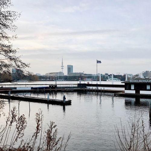 Hamburg Alster Außenalster Alster View Architecture Built Structure Sky Water Germany Waterfront City No People Outdoors Day Nautical Vessel Nature Tree