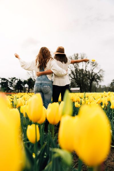 🌹🌹 Tulips Women Sky Plant Rear View Nature Yellow Leisure Activity Flowering Plant Flower Togetherness Casual Clothing People Females Lifestyles Real People Adult Day Two People Full Length Bonding