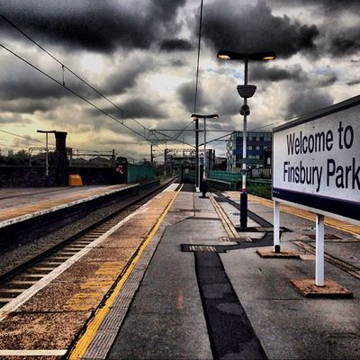 The Heavens Above at Finsbury Park Station. London Londonpop London_only Ic_cities Ig_london Gf_uk Train Tube Track Commute Clouds TransportForLondon Trainstation Britain England Uk Eu Europe European  Euro Sterling Platform Awesome Lovelondon ILoveLondon cool