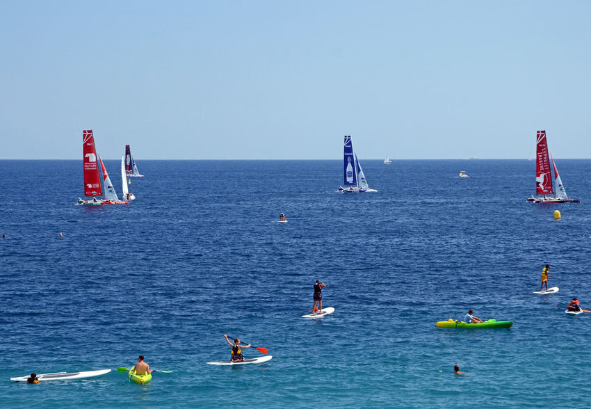 Adventure Blue Clear Sky Composition Copy Space Figurines  Film Horizon Over Water Miniatures Sailing Ship Sea Stand Up Paddle Summer Suspended Time Water Weekend Activities Sport Water Sports Sea Kayak EyeEm Best Shots Speed