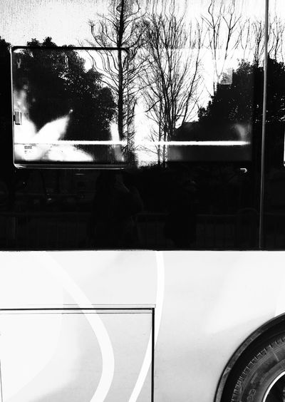 On The Bus Reflection Black & White People Watching