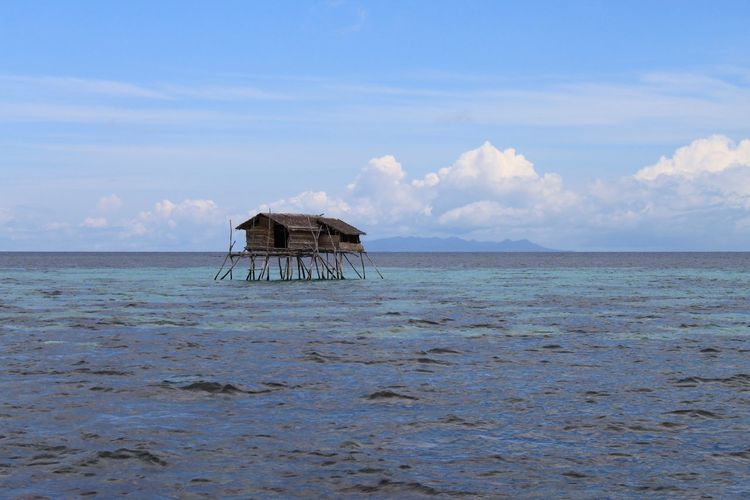 Architecture Beach Beauty In Nature Building Exterior Built Structure Cloud - Sky Day Horizon Over Water Nature No People Outdoors Scenics Sea Sky Stilt Tranquil Scene Tranquility Water Fishermen's Life Fishermen's House Sulawesi Togian Islands...