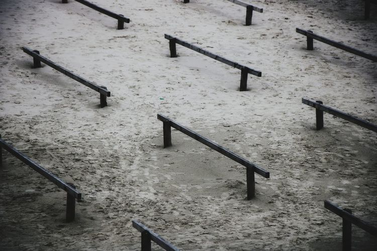 High angle view of steps by railing during winter