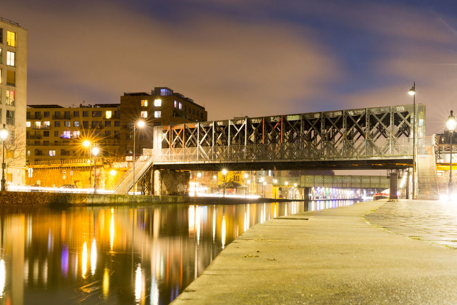 La Petite Ceinture City Reflection Cityscape Night Illuminated Water Travel Destinations Architecture History No People Outdoors Bridge - Man Made Structure Downtown District Sky