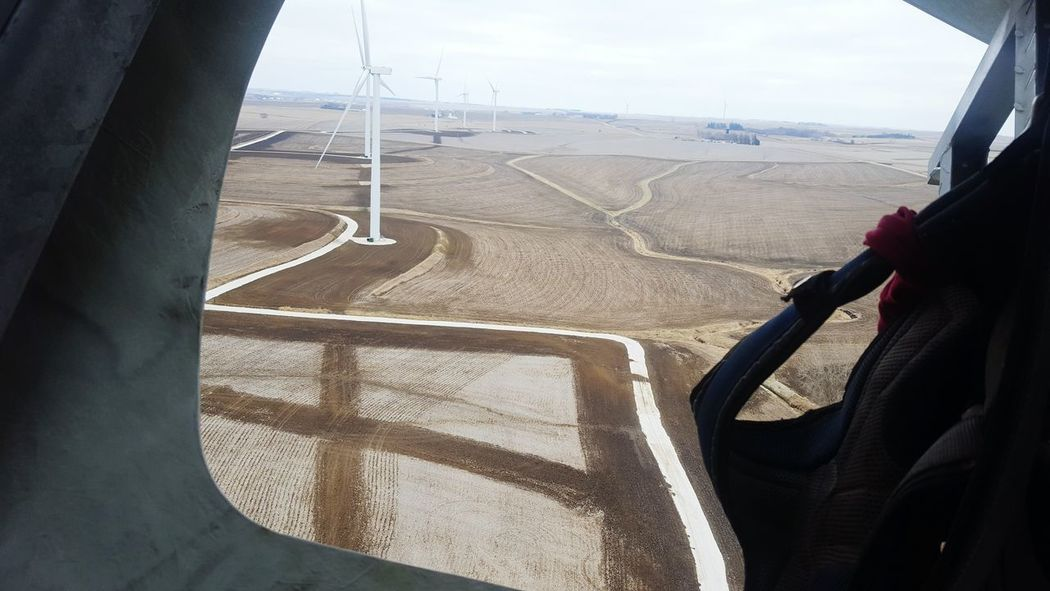 High Hanging Out High Angle View Iowa Farms Turbine Work