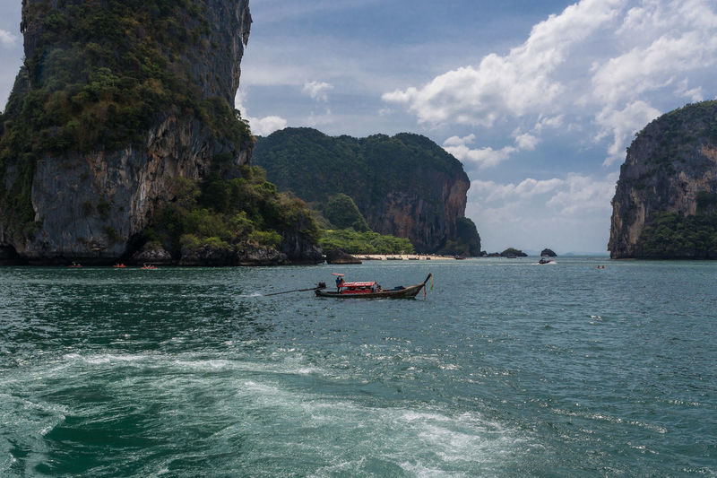 Krabi Krabi Thailand Bay Beauty In Nature Cloud - Sky Day Incidental People Land Mode Of Transportation Motion Mountain Nature Nautical Vessel Outdoors Rock Scenics - Nature Sea Sky Solid Transportation Water Waterfront