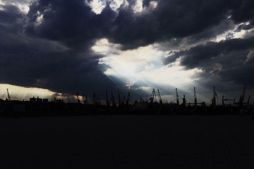 Black Sea Port Cloud Cloud - Sky Cloud Lightn Crane Cranes Dramatic Sky Light Lights Nature No People Outdoors Port Sea Silhouette Sky Storm Cloud