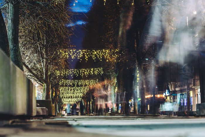 Xmas Decorations in Kaunas, Lithuania Motion Blur Xmas Xmas Decorations Architecture Building Exterior Built Structure Chirstmas City Lights Decoration Illuminated Indoors  Long Exposure Motion Effect Night Real People Tree