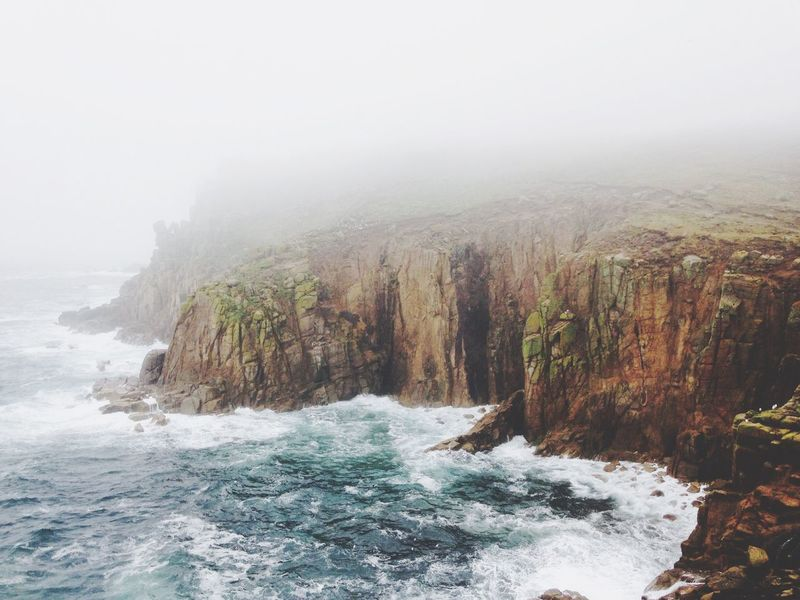 A stormy day near lands end. Lands End Cornwall Storm Stormy Weather Water Sea Outdoors Foggy Foggy Sea Misty Waters Cliff Misty Cliffs