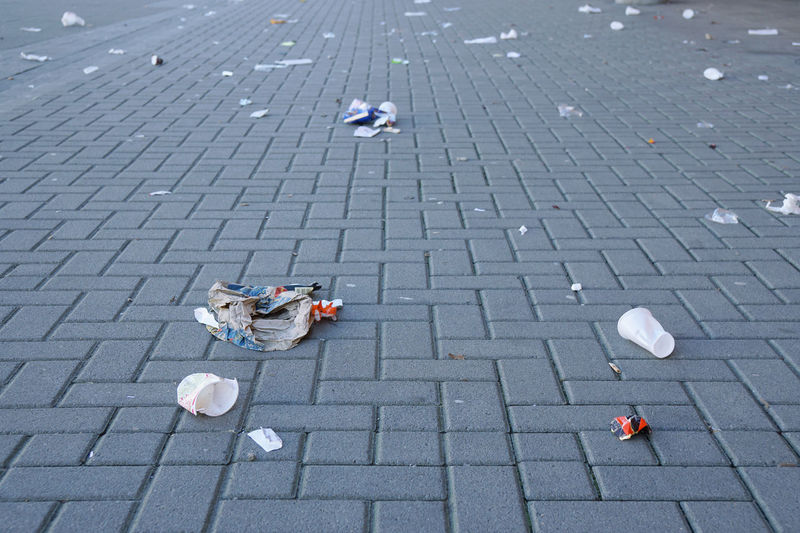 Dirty Discarded Footpath Garbage Litter Littering No People Pavement Rubbish Sidewalk Thrown Away