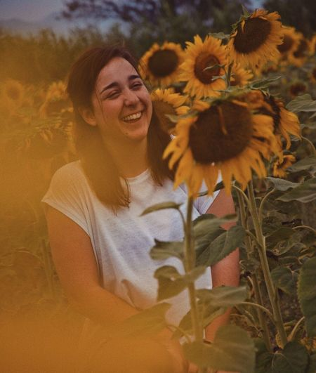 we got lost but found sunflowers // part II Flower Smiling Nature Growth Sunflower Happiness One Person Girls Plant Fragility Young Adult Real People Flower Head Young Women Beauty In Nature Yellow Outdoors Childhood Day Freshness Beauty In Nature Color Portrait Girl People