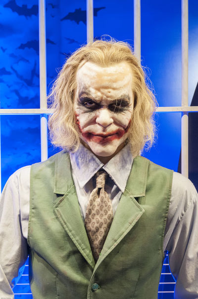 Batman Make-up Blond Hair Blue Close-up Day Front View Indoors  Jested Joker Looking At Camera One Person People Portrait Real People Senior Adult Serious Sinister Villain Young Adult