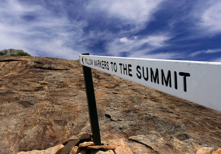 Cape Le Grand National Park Western Australia Frenchman Cap To The Summit Cloud - Sky Text Communication Sign Nature No People Rock Rock - Object Solid Capital Letter Non-urban Scene Environment Information Directly Above Up Soaring Climbing Challenge Difficult Overcoming