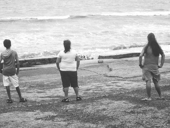 Water Beach Wave Sea Sand Full Length Friendship Wet Rear View Real People Vacations Nature People Togetherness Adult Blackandwhite EyeEm Best Shots - Black + White EyeEmNewHere EyeEm Gallery Eyeem Market Old Friendship Nostalgic  Old Days Musketeers Friendsforever