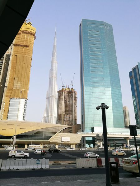 Hello World Taking Photos Buildings Burj Khalifa Tallest Building Metro Station Road Vehicles