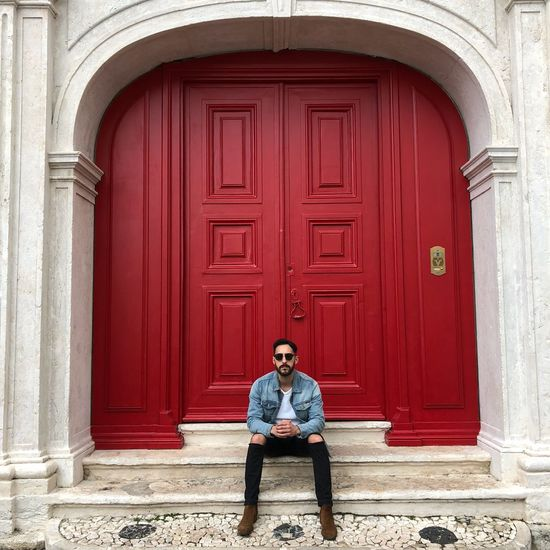 lisboa #City #fashion #sexy #girl #secygirl Portrait Full Length Men Red Doorway City Front View Sitting Door Entrance
